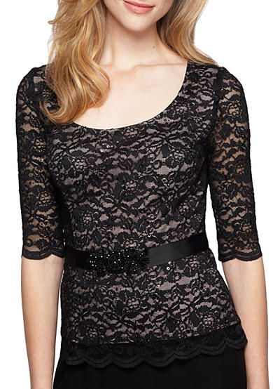 Alex Evenings Lace and Sequin Blouse