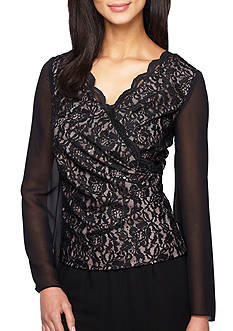 Alex Evenings Long Sheer Sleeve Lace Blouse