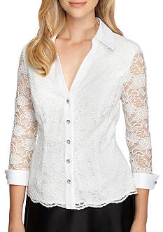 Alex Evenings Lace Button Up Blouse