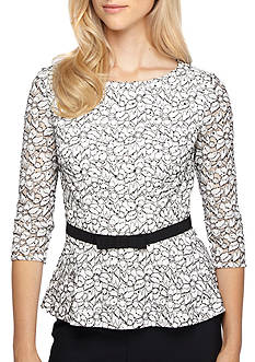 Alex Evenings Peplum Hem Lace Blouse