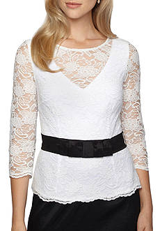 Alex Evenings Belted Lace Top