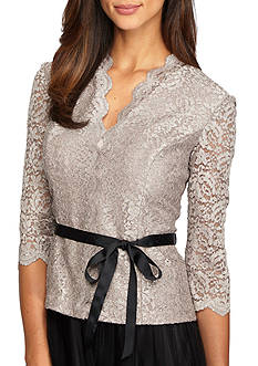 Alex Evenings Belted Lace Blouse