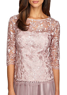 Alex Evenings Scallop Embroidered Blouse