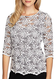 Alex Evenings Floral Lace Blouse