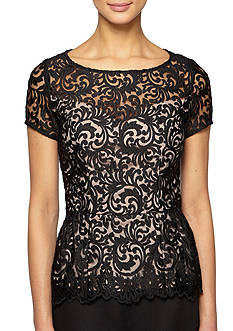 Alex Evenings Embroidered Peplum Blouse