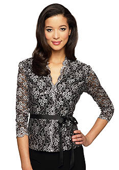 Alex Evenings Printed Lace Blouse