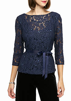 Alex Evenings Sequin Lace Blouse with Tie Belt
