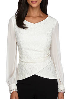 Alex Evenings Long-Sleeve Lace Blouse
