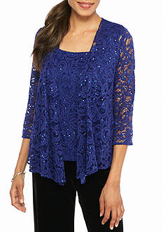 Alex Evenings Lace and Sequin Twinset