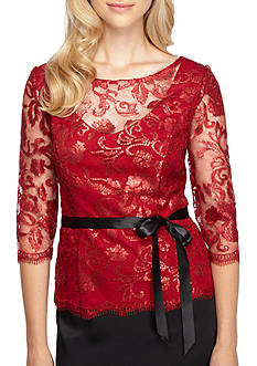 Alex Evenings Three-Quarter Sleeve Lace Blouse