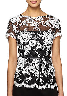 Alex Evenings Embroidered Blouse with Ribbon Belt