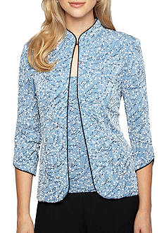 Alex Evenings Mandarin Collar Printed Twinset
