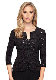 Alex Evenings Zip Front Sequin Twinset