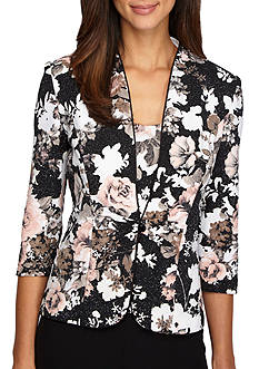 Alex Evenings Floral Printed Jacquard Twin Set