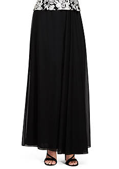Alex Evenings Long A-Line Skirt