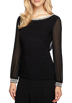 Alex Evenings Bead Embellished Cutout Cowl-Neck Back Blouse