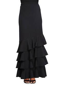 Alex Evenings Asymmetrical Tiered Ruffle Hem Skirt