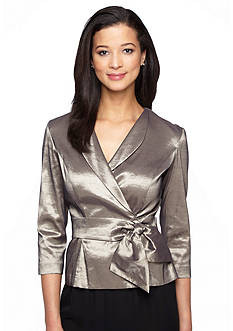Alex Evenings Surplice Blouse with Pull-Through Belt
