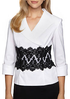 Alex Evenings Embroidered Lace Inset Blouse