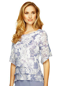 Alex Evenings Floral Printed Triple Tiered Blouse