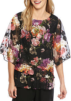 Alex Evenings Floral Printed Asymmetrical Tiered Blouse