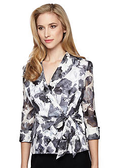 Alex Evenings Printed Side Tie Blouse
