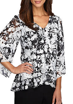 Alex Evenings Printed Asymmetrical Blouse