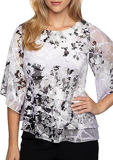 Alex Evenings Floral Tiered Blouse