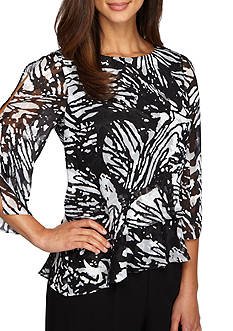 Alex Evenings Double Tiered Printed Split-Sleeve Blouse