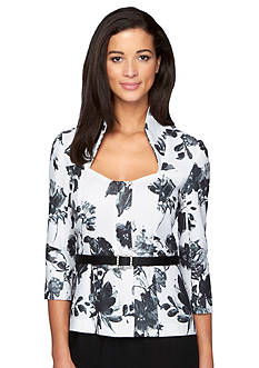 Alex Evenings Printed Zip Front Blouse