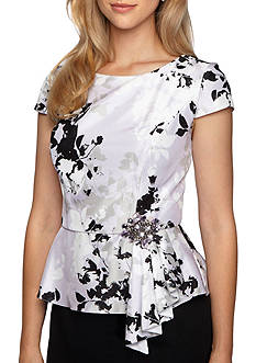 Alex Evenings Floral Cap Sleeve Ruffle Top