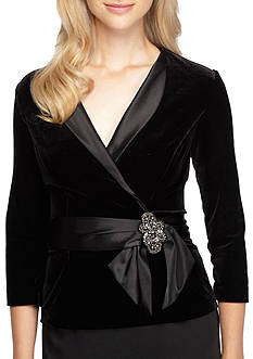 Alex Evenings Satin Trim Blouse