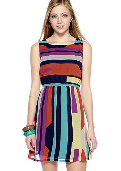 Ultra Pink Sleeveless Bar Back Stripe Dress
