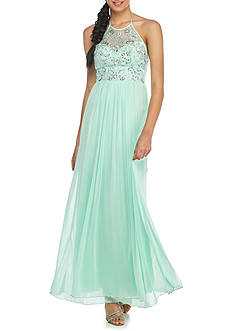 B. Darlin Bead Embellished Halter Gown