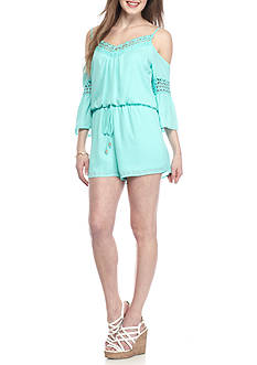City Triangles Crochet Cold Shoulder Romper