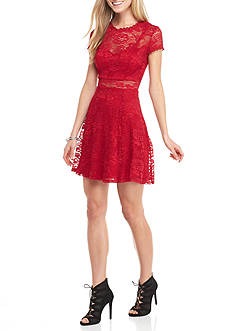 City Triangles Short Lace Skater Dress