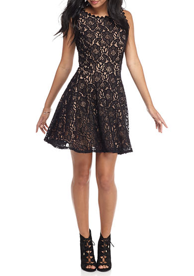 City Triangles All Over Lace Skater Dress