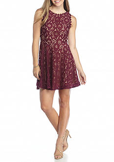 City Triangles Lace Skater A Line Dress