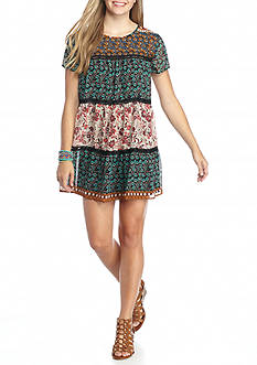 City Triangles Multi Printed Tiered Dress