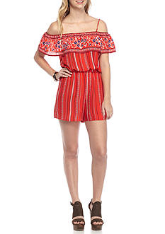 City Triangles Ruffle Embroidered Off The Shoulder Romper With Tie Waistline