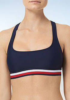 Tommy Hilfiger Signature Stripe Elastic Racerback Swim Top