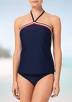 Tommy Hilfiger Signature Stripe Elastic High Neck Tankini Swim Top