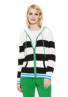 TWO by Vince Camuto Jersey Stripe Hip Hoodie
