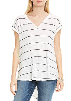 TWO by Vince Camuto Twin Striped Chevron Split Neck and Back Knit Top