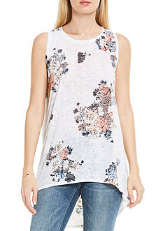 TWO by Vince Camuto Sleeveless Hi-Low Bouquet Whimsy Floral Tank