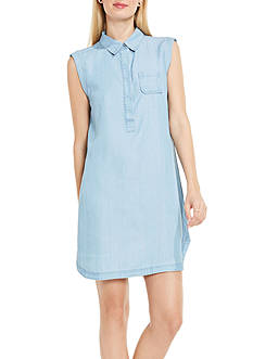 TWO by Vince Camuto Sleeveless Collard Pocket Henley Dress