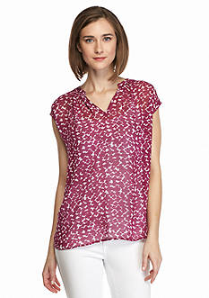 TWO by Vince Camuto Print Split Neck Blouse