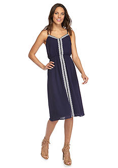 TWO by Vince Camuto Crinkle Gauze Midi Dress