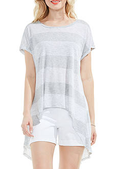 TWO by Vince Camuto Block Stripe Split Back Top