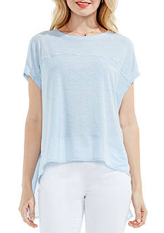 TWO by Vince Camuto Mix Media High Low Knit Tee